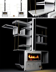 Very nice!  The brick or stone wood-burning hearth is the historic center of a home, providing heat and light in the absence of radiators, electric heating or modern lighting – but even a sleek contemporary metal fireplace surround tends to displace a great deal of space, which can be challenging in small homes already low on storage area.