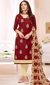 Maroon Color Brasso Churidar Suit #newfashionchuridar#nettedchuridar Style and trend could be at the peak of your splendor as soon as you attire this maroon color brasso churidar suit. The ethnic butta, lace, patch and resham work at the dress adds a sign of splendor statement to your look. USD$ 55(Around £ 38 & Euro 42)