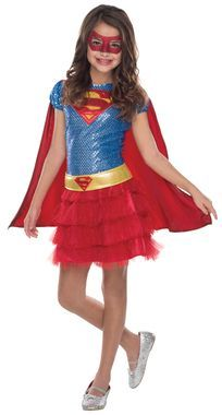 If you have a little superhero running around who wants to fight crime, this Supergirl costume might be the perfect thing to get her. Sparkle tutu dress, belt, cape and mask. Shoes not included.