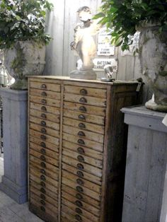 Style Industrial: Old Printer's Chest from Valencia, Spain c.1900's