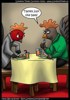 @LTCartoons a #RickLondonBrand #chickens #vegan #foodies #humor #cartoons #comics Chicken Jokes, Funny Chicken, Tin Shed, Funny Animals, Animal Funnies, London Brands, Food Art, Bowser, Laughter
