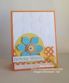 Bloom for You, sweet taffy DSP, starburst frames, polka dots TIEF, pumpkin pie, tempting turquoise, yellow