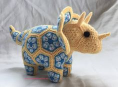 Ta-dah! Plod the Triceratops!  Pattern is from Heidi Bears and can be found here: http://www.ravelry.com/patterns/library/plod-the-african-flower-triceratops