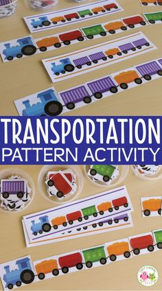 Kids can practice duplicating, continuing, and creating patterns with this hands-o Transportation Preschool Activities, Transportation Unit, Train Activities, Pre K Activities, Preschool Math, Kindergarten Activities, Train Crafts Preschool, Transportation Theme For Toddlers, Math Literacy
