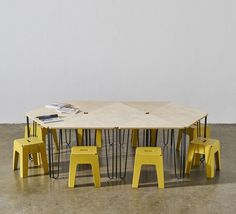 Fractal Dining U0026 Meeting Table | Timber Plywood Top | Powder Coat Metal  Legs | Triangle