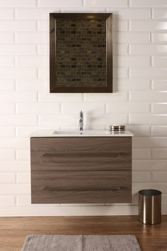 "Naos 32"" Grey Oak, Modern Wall Mount Bathroom Vanity, Featheredge - The Vanity Store Canada - 32"" - 1"