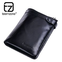 Soft Oil Wax Leather Men Bifold Clutch Checkbook Wallet Card Holder Purse Black #teemzone #IDwindowverticalWallet