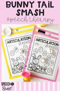 """Turn any Easter themed speech therapy worksheet into a fun """"bunny tail"""" smash mat! Just use white play dough to represent the bunny tail. Check out this blog post for tons of other ideas for Easter speech-language therapy. Ideas address articulation, apraxia, fluency (stuttering, and language! #speechtherapy #easter"""