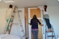How To Build A SIMPLE Sliding Barn Door Wood Closet Doors, Diy Sliding Barn Door, Guest Bedrooms, Barn Wood, Mudroom, Home Organization, Rustic Decor, Farmhouse Style, Pantry