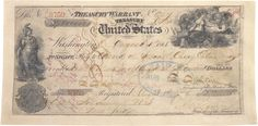 """Canceled check for the purchase of Alaska from Russia, 1868.  Referred to as """"Seward's Folly,"""" the United States bought Alaska on August 1, 1868, for $7,200,000 (less than two cents per acre).  Alaska, which eventually became the 49th state in the Union, measures nearly 600,000 square miles."""