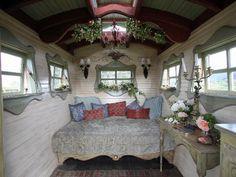 Love love love the window framing!  Green Gala Gypsy Caravan B | Flickr - Photo Sharing!