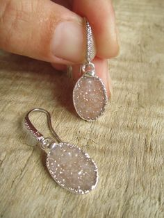 Sand Druzy Earrings Drusy Quartz Sterling Silver Drops