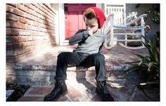 Basic boys fashion- beanie and boots complete the style/look