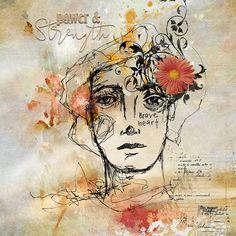 Strength Of A Woman, Braveheart, Digital Scrapbooking, Ink, Art Journaling, Creative, Brushes, Layouts, Prints