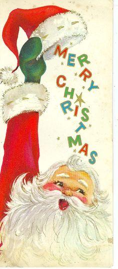 Mid-Century Santa - vintage Christmas card