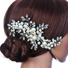 Wedding Hair Accessories Clips Romantic Crystal Pearl Flower HairPin Rhinestone Tiara Bridal Crown Hair Pins Bride Hair Jewelry