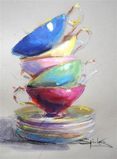 """Daily Paintworks - """"Cup Floweth Over"""" - Original Fine Art for Sale - © Johanna Spinks"""