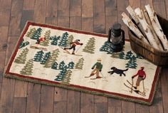 Cross Country Skiing Hooked Wool Accent Rug Ski Decor, Lodge Decor, Alpine Lodge, Big Bay, Black Forest Decor, Bear Rug, Cross Country Skiing, Rug Cleaning, Accent Rugs