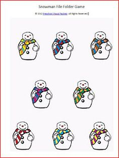 Preschool Powol Packets: Snowman File Folder Game and Writing Practice (free printable)
