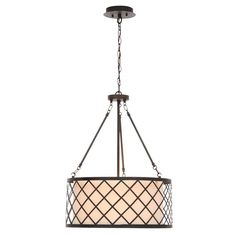 Hampton Bay Hayes 3-Light Oil-Rubbed Bronze Metal Overlay Drum Pendant ES4768OB4 at The Home Depot - Mobile