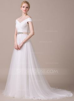 A-Line/Princess Off-the-Shoulder Court Train Tulle Wedding Dress With Ruffle Sash Beading Sequins (002058805)