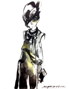 Fashion Illustration - stylish ink drawing; fashion sketch // Mengjie Di