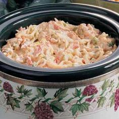 Hot Crab  Dip made in the slow cooker with the fake crab stuff-- I'll try it!