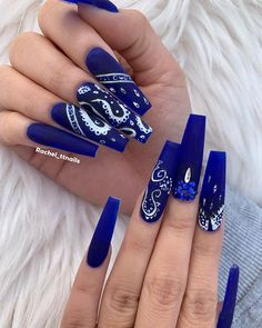 The Proud Beauty : Dope Coffin Nail Ideas Nails Yellow, Blue Acrylic Nails, Summer Acrylic Nails, Dope Nail Designs, Cute Acrylic Nail Designs, Nail Swag, Gorgeous Nails, Pretty Nails, Bandana Nails