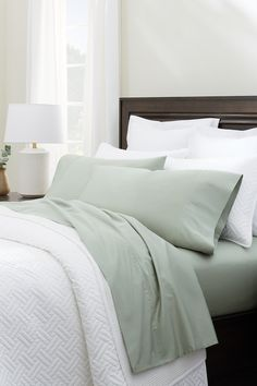 Most Comfortable Bed Sheets, Green Bed Sheets, Sheet Sets, Hue, Cozy, Bedroom, Furniture, Home Decor, Decoration Home