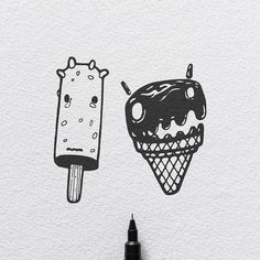 Ice Creams - Fear Not Series.  #illustration #tattoo #icecream #drawing