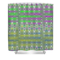 Colorful Shower Curtains in a Zigzag Pattern #pixelswebsite #showercurtain #decor #homedecor