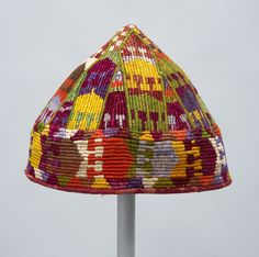 Northern Afghanistan, Uzbek cap, silk, cotton, plain woven and embroidered, 1920 - 1950