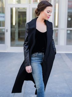 Mada Boutique: Black to Basics Fall Collection Fall Collections, My Mom, Online Boutiques, All Black, Duster Coat, Clothes For Women, Chic, My Style, Trench