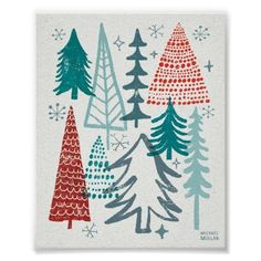 Christmas Tree Holiday Art Print |Michael Mullan (Would be nice for a card) Christmas Tree Design, Noel Christmas, Winter Christmas, Vintage Christmas, Christmas Crafts, Christmas Decorations, Michael Christmas, Christmas Tree Graphic, Christmas Art Projects