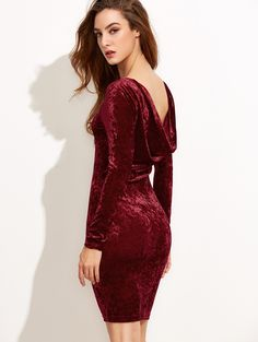 5c0d54adfec1 Online shopping for Burgundy Draped Back Velvet Bodycon Dress from a great  selection of women's fashion
