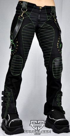 Cryoflesh Biohazard Decay Cyber Punk Industrial Pants F - Pants & Jeans | RebelsMarket