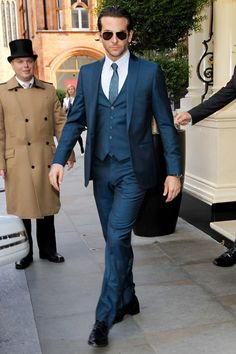 Bradley Cooper: Most Stylish Man Alive Dark Blue Suit, Blue Suit Men, Mens Suit Vest, Mens Suits, Navy Blue, Sharp Dressed Man, Well Dressed, Most Stylish Men, Three Piece Suit