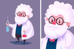 Funny scientist character. Vector by Krol on Creative Market