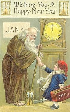 Father Time & Child Vintage New Year Postcard