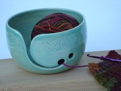 Pottery Yarn Bowl with hand carved design Aegean by TohkiyaPottery, $36.00