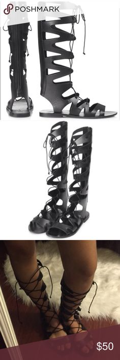 TOPSHOP Figtree Leather Lace Up Gladiator Sandals 🎉JUST REDUCED! 🎉 Only worn once! Size 5.5. Could fit up to size 6. All leather upper and man made sole by Topshop. Pet and smoke free home! Topshop Shoes Sandals