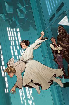 Star Wars - Princess Leia, Luke Skywalker, Han Solo and Chewbecca by Joe Quinones