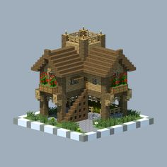 A raised log cabin via /r/Minecraft by Ravernstal. - Minecraft Is The Coolest Minecraft Log Cabin, Casa Medieval Minecraft, Cute Minecraft Houses, Minecraft Castle, Minecraft Plans, Minecraft House Designs, Amazing Minecraft, Minecraft Tutorial, Minecraft Blueprints