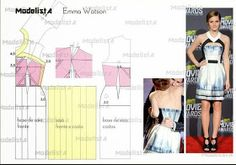 I Love Craft: Free patterns Easy Sewing Patterns, Clothing Patterns, Dress Tutorials, Sewing Tutorials, Fashion Sewing, Diy Fashion, Sewing Clothes, Diy Clothes, Evening Dress Patterns