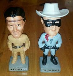 RARE SAM Lone Ranger & Tonto Bobble Head Dolls IOB 1996 Limited Edition w/ COA
