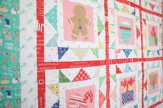Cozy Christmas Quilt with Lori Holt Bee in My Bonnet Fabrics.  Free Quilt pattern with purchase of fabric.