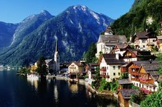 Picturesque Hallstat (Austria), overlooking the lake with mountains in background.
