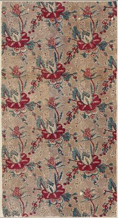 Printed cotton 18th century France  Dimensions Overall (Unstitched, fully open): 120 x 57.5 cm