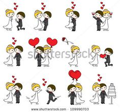 Japanese doodles | Cartoon Doodle Wedding Couple With Hearts Stock Vector 109990703 ...