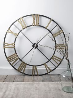 With a rustic aged metal wrought iron frame, our oversized and vintage inspired clock includes contract painted roman numerals and classic white metal hands. This weighty skeleton clock can be easily hung with the metal loop on reverse, but looks just Plywood Furniture, Furniture Storage, Modern Furniture, Furniture Design, Big Wall Clocks, Wall Clock Decor, White Clocks, Oversized Clocks, Skeleton Clock